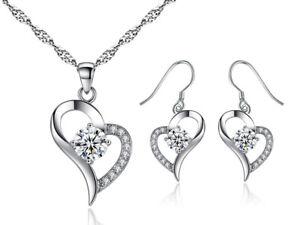 Heart Pendant Earrings Set Swarovski® Crystal Womens Ladies Jewellery Gems UK