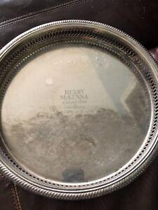 "Vintage Henry McKenna Kentucky Table Whiskey Liquor 13"" Silver Tray"