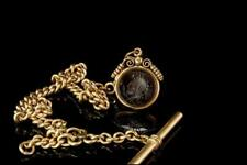ANTIQUE VICTORIAN INTAGLIO CARNELIAN FOB GOLD FILLED WATCH CHAIN