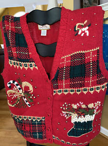 heirloom collectibles christmas sweater vest 18/20  Red Gold Green