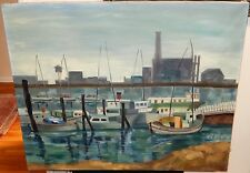 """VIRGINIA TRAUTNER """"FISHERMAN'S WHARF"""" SAN FRANCISCO OIL ON CANVAS LARGE PAINTING"""