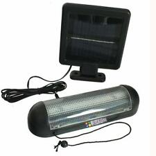 ROCKLINE 10 LED SOLAR POWER GARDEN SHED LIGHT RECHARGEABLE GARAGE STABLE FIXINGS