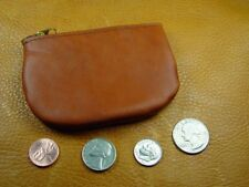 Brown Cowhide Leather coinpurse pouch USA hand crafted disabled veteran 5026