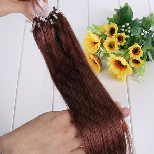 100% Remy Human Hair Extensions Loop Micro Ring Beads 7A 16-26Inch Straight Hair