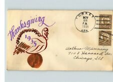 Hand Painted 1935 THANKSGIVING, cancelled TURKEY, Arkansas, sent to Mr. Manning,