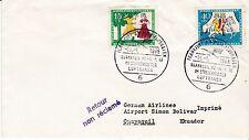 First flight cover, Lufthansa, Frankfurt to Guyaquil, Ecuador, 1966