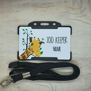 Personalised GIRAFFE ZOO Keeper Children's ID Card With Breakaway Lanyard toy