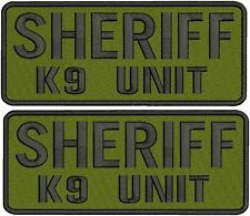 2 Sheriff k9 unit embroidery patches 4x10 hook on back black letter