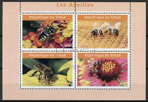 Chad 2019 CTO Bees Bee 4v M/S Abeilles Insects Stamps