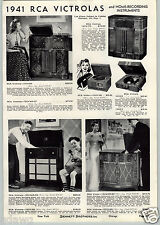 1941 PAPER AD 3 PG RCA Victor Console Floor Table Radio Victrola Home Recording