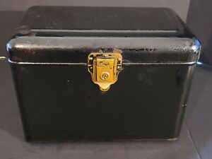 "Antique Vintage ""PERFECTION"" Metal Strong Box NO KEY 12-/12"" X 10"" X 8"""