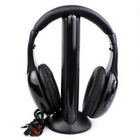 Over Ear Wireless FM Radio Headset Headphone Earphone 3.5mm Jack for TV PC P0I2