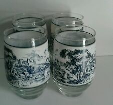 Set of 4 Beautiful Wedgewood Countryside Pattern 12 Ounce Glasses.