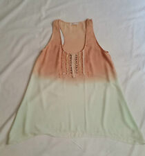 Sass Rosequartz Pink Mint Light Casual Singlet Tank Top Beaded Lace Size 10