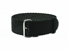 HNS 20MM/22MM Black Perlon Tropic Braided Woven Watch Strap With Polished Buckle