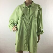 Roaman's Plus 24W Button Front Collar Chest Pocket Roll Tab Sleeve Blouse Green
