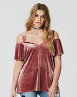 New Simply Be Women's Velvet Cold Shoulder Top Size 14 £20 RRP Evening Party
