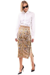 Silk Straight Skirt Size S Silk Lined Sequined Zipped Side Made in Italy