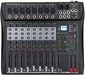 Depusheng 8 Channel Bluetooth USB Audio Mixer Sound Mixing Consoles Amplifier-UK