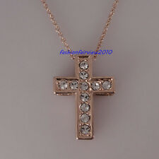 18K Rose Gold GP Clear Crystal Simple Latin Cross Pendant Necklace IN038D