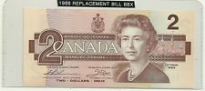 1986 UNC  Canada 2 $ Bill  Prefix Thiessen/Crow BBX 3332066 Replacement 55bA