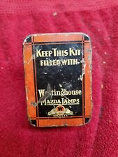 Vintage Westinghouse Mazda lamps Spare light bulb tin box Ford chevy 1920`s 1930