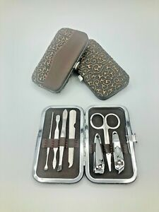 Pedicure Manicure Set Nail Clippers Cleaner Cuticle Grooming Kit - Rustic Floral
