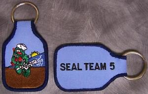 Embroidered Cloth Military Key Ring Navy SEAL Team 5 NEW