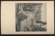 1940s Postcard Hyde Park Ny Post Office Mural #12 Building St James Church 1846