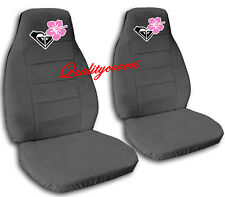 2 cool CAR SEAT COVERS IN CHARCOAL W/PINK HIBISCUS CUTE