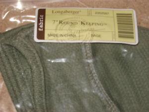 """Longaberger 7"""" Round Keeping Liner Sage Green Basketball Basket MINT FREESHIP!"""