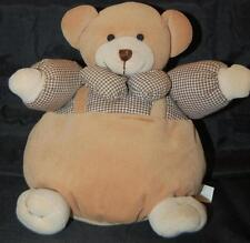 "Baby Rattle Brown Round Fat Jolly Bear 9"" Plush 1998 Teddy Bear Stuffed Toy"