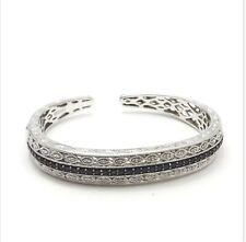 New Sterling Silver RPG Macys Deco Style Sapphire Diamond Cuff Bangle Bracelet