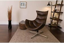Brown Leather Cocoon Chair New