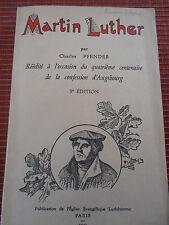LIVRE MARTIN LUTHER PAR CHARLES PFENDER ALSACE 1931  (ref 35 )