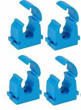 Set of 4 MDPE blue hinged Pipe clips clip, 20mm. freepost, UK SELLER