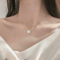 Snowflake Pendant Sterling Silver Chain Necklace Jewellery Gift Z7O2