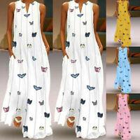 Casual Women Sleeveless V-neck Maxi Dress Hem Baggy Kaftan Long Vest Shift Dress