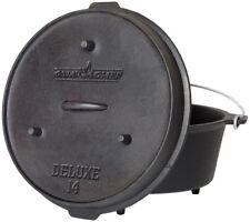 14 in. Cast Iron Dutch Oven Deluxe Preseasoned Slow Roast Meals Loop Lid Handle
