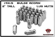 "24 Pc 14x1.5 Chrome Bulge Acorn Lug Nuts Close End Tall 2"" 6 Lug Chevy Gmc &More"