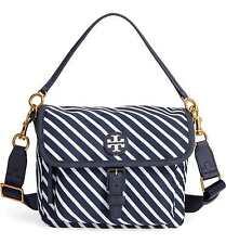 NWT Authentic TORY BURCH Scout Stripe Nylon Crossbody Bag in Regatta $195