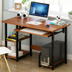 Study Writing Desk Computer Laptop PC Table Workstation Home Office W/ Shelves