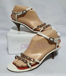 CHANEL White Strappy Sandals Size 37 1/2