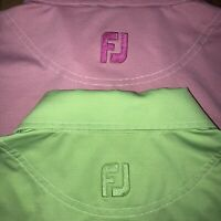 Lot Of Two Footjoy Golf Polo Stretchy Pink Green Mens Large L Old American Club