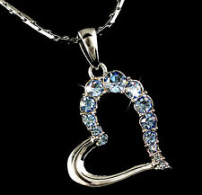 White Gold made with Blue Swarovski Crystal Large Open Heart Pendant Necklace