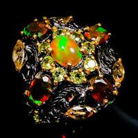 Opal Ring Silver 925 Sterling Art Fashion Women Size 6.5 /R142353