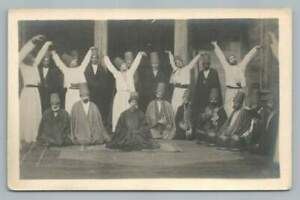 Whirling Dervish Dancers & Music Band RPPC Antique Turkey Photo Constantinople?