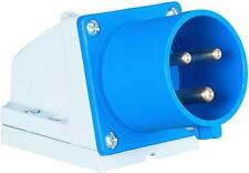 Pce - 523-6 - 32a 230v 3p Wall Mounted Cee Industrial Plug, Ip44, Blue