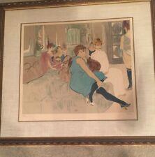 "Laurent Marcel Salinas ""Salon After Toulose-Lautrec Signed Lithograph & Framed"