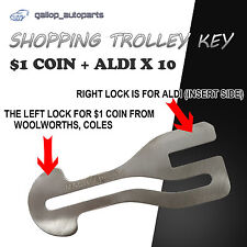 $1 COIN SLOT Removable Shopping Trolley Key ALDI WOOLWORTHS COLES KEY Chain x 10